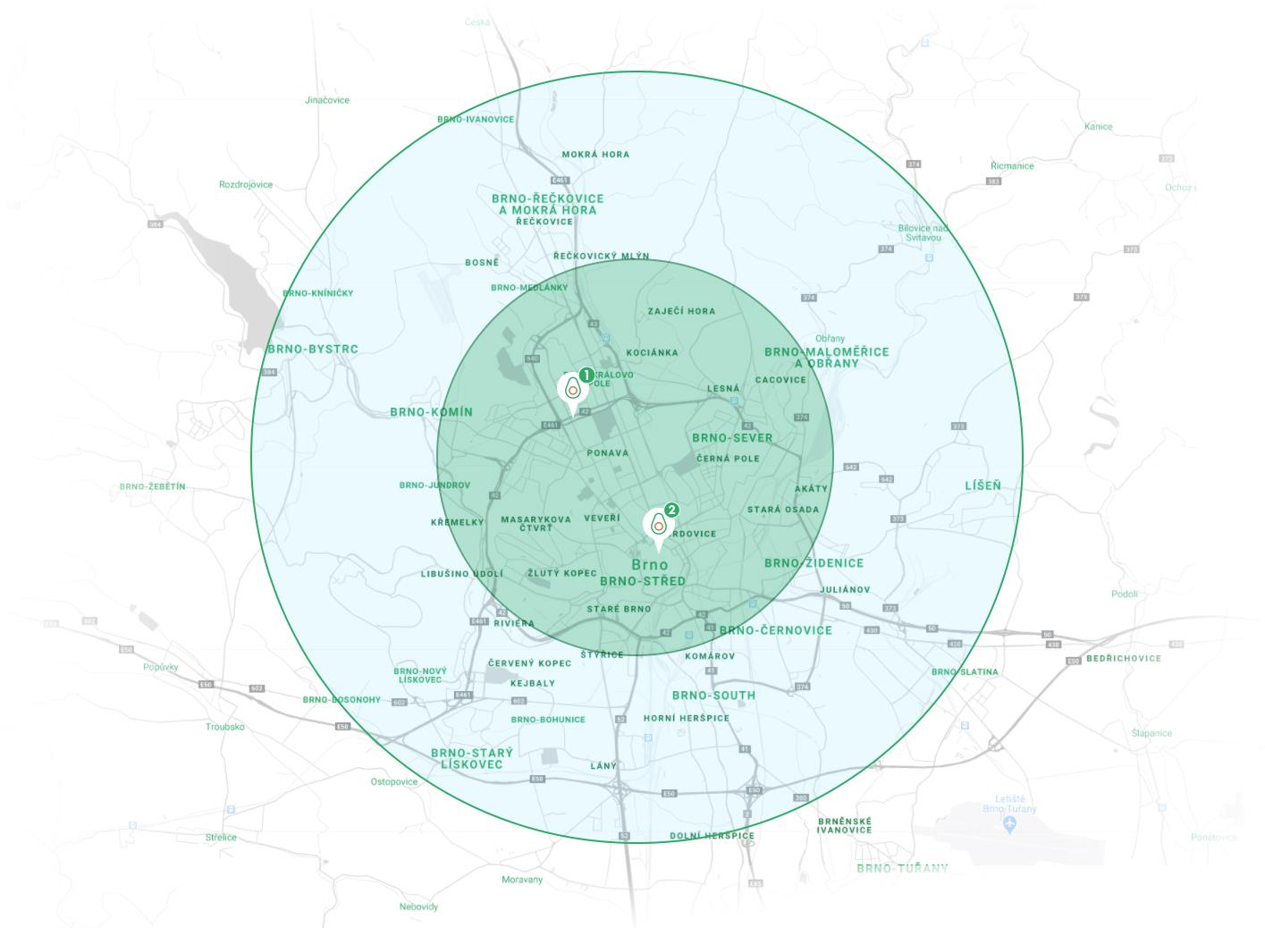 mapa oblastí rozvozu